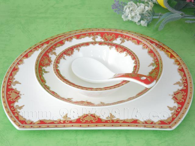 酒店摆台餐具 中国红餐具 官府菜餐具 豪华包房餐具 白金台面餐具
