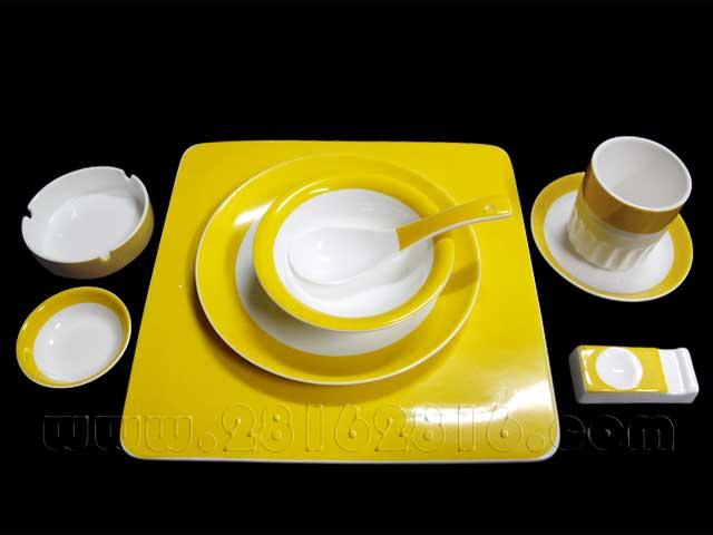宴会摆台餐具  彩边摆台餐具 宾馆台面餐具 包金台面餐具 中国黄餐具