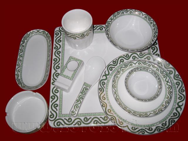 饭店台面餐具 中式摆台餐具 高级彩边餐具 酒店台面餐具 豪华包房餐具