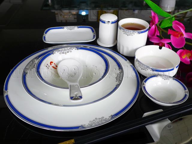 宴会摆台餐具 高档厅台餐具 宾馆台面餐具 包房摆台餐具 高级彩边餐具