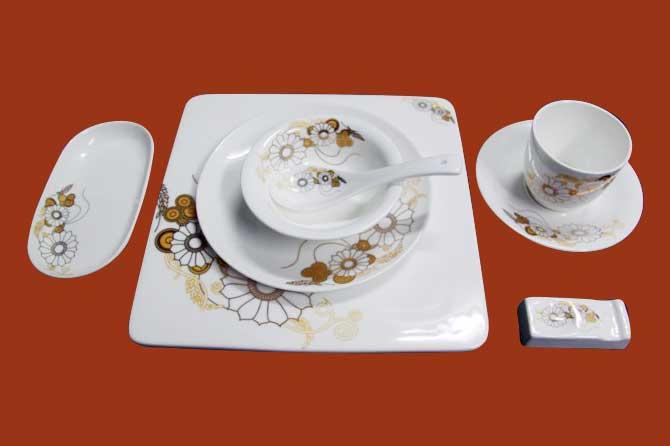 a0068#宴会餐具摆台餐具-生产厂家宾馆餐具优质钡质瓷台面餐具供应商图片