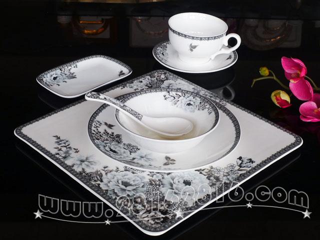 欧式特色古典餐厅餐具 欧式风格 宴会摆台餐具 现代欧式 牡丹餐厅餐具